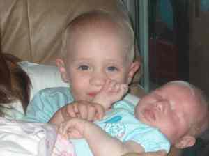 holding baby